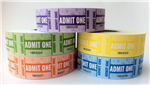 Admit 1 tickets 1000 per Roll Pk 5 Assorted Colours